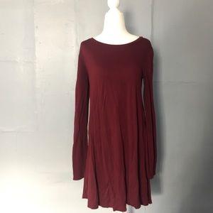 Forever 21 maroon long sleeve t-shirt dress